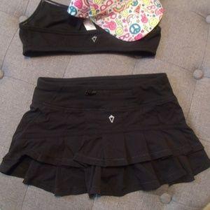 Ivivva Black Stripe Ruffle Set the Pace Skirt